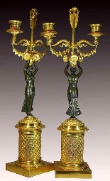 Coppia di Candelabri in bronzo patinato e dorato-2