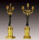 Coppia di Candelabri in bronzo patinato e dorato-1