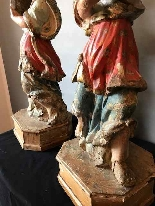 pair of polychrome wood angels-5