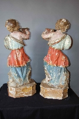 pair of polychrome wood angels-1