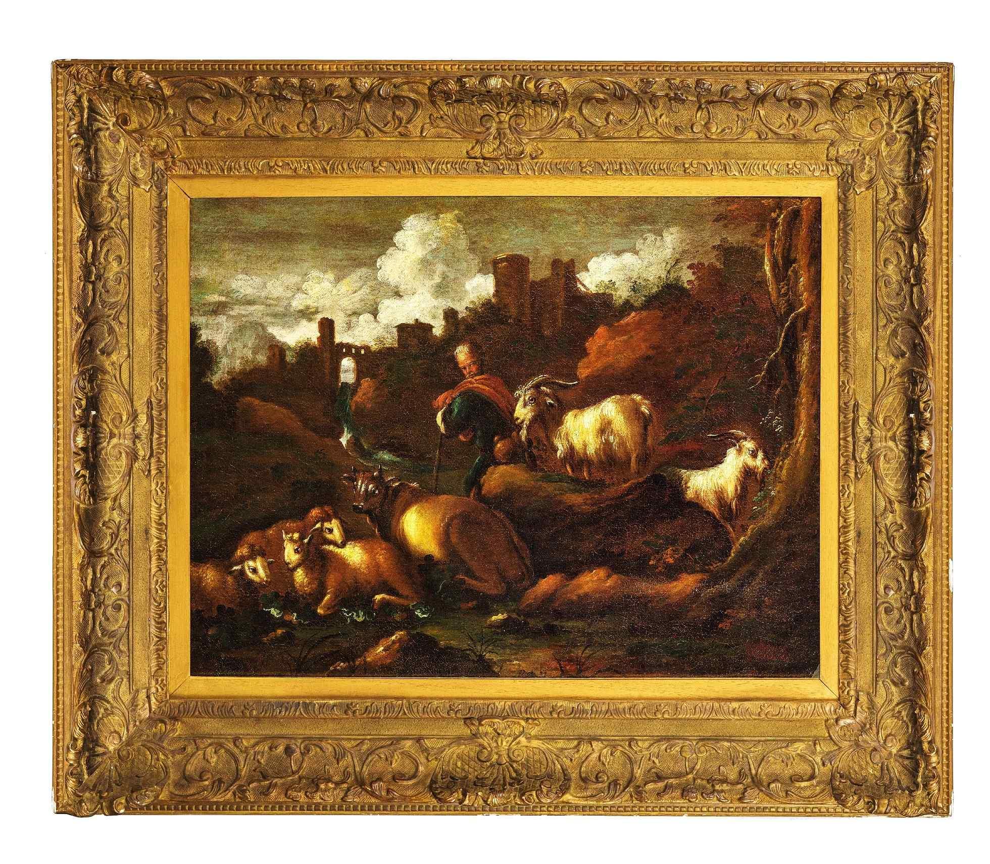 Paesaggio con pastore e armenti.