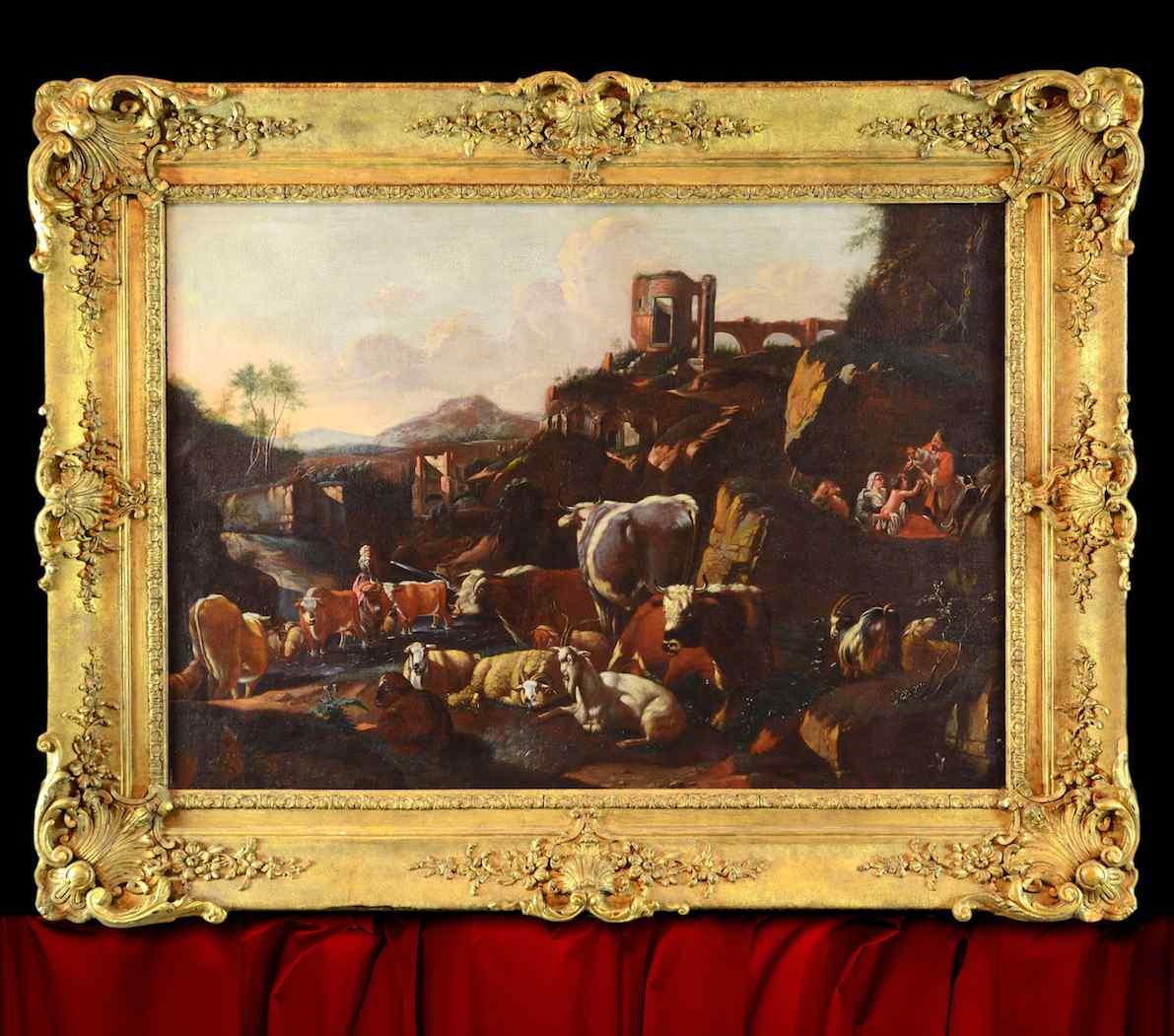Johann Heinrich ROOS - Paesaggio romano con scena agreste