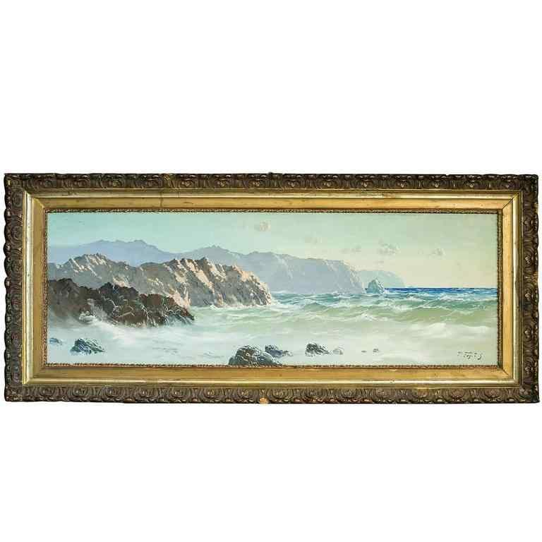 Anglais Marine Paysage avec des falaises huile sur toile Pei