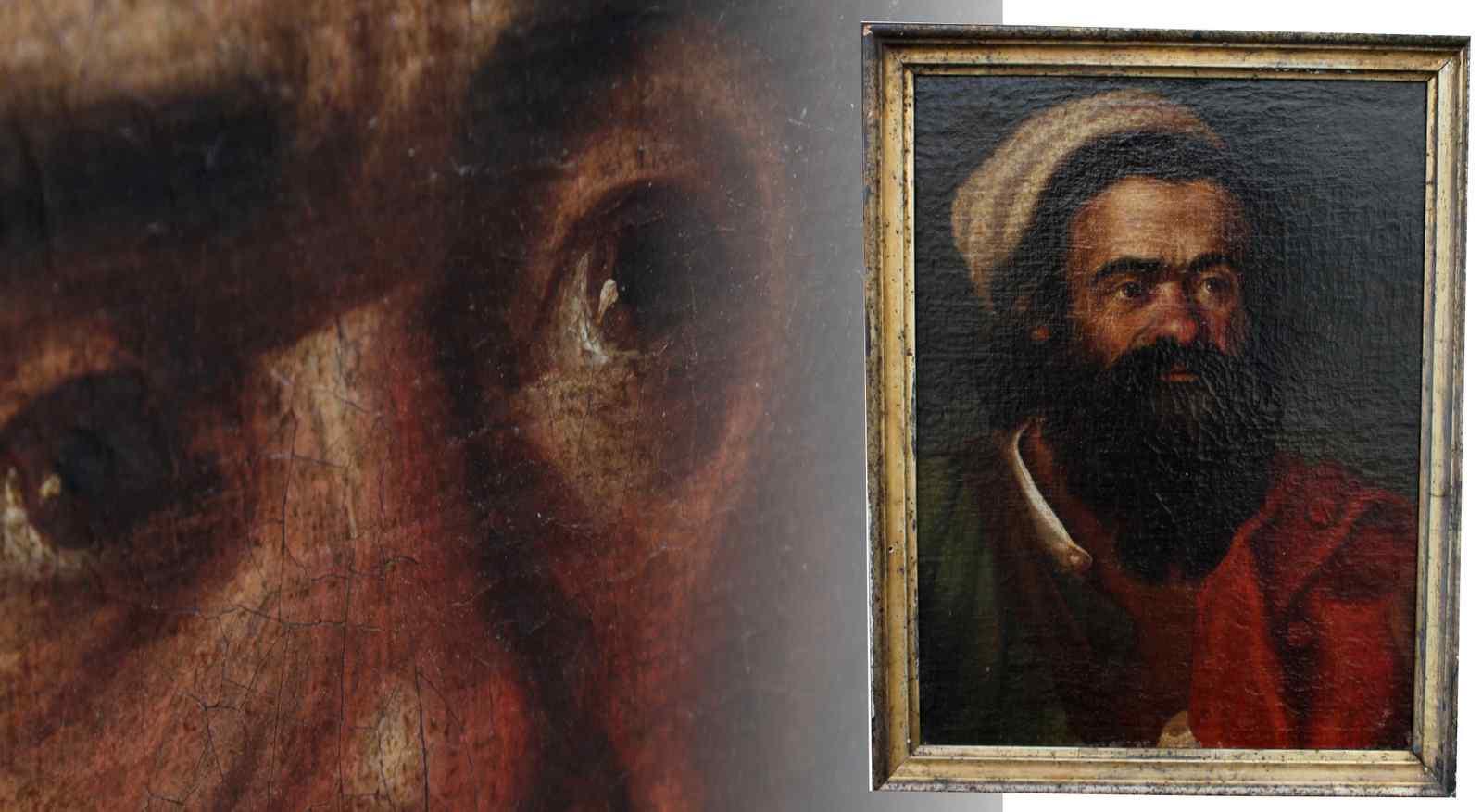 Vieille peinture à l'huile sur toile représentant le personn