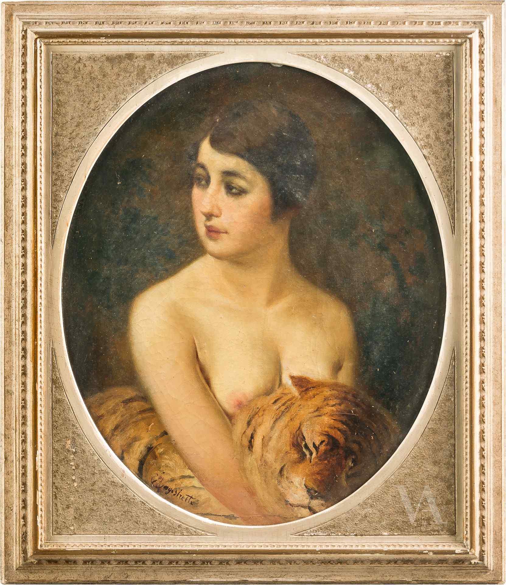 Emilio Magistretti, Portrait d'une fille avec un tigre. 19èm