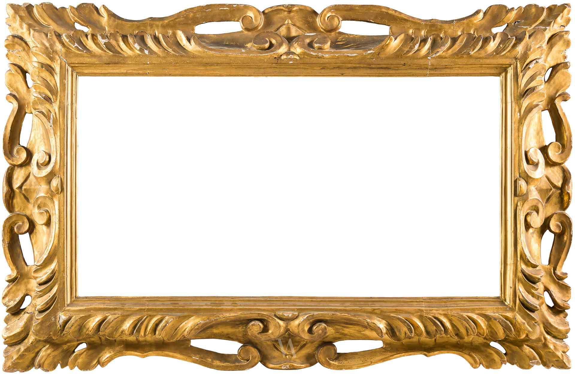 Grande cornice in legno intagliato e dorato. XVIII sec.
