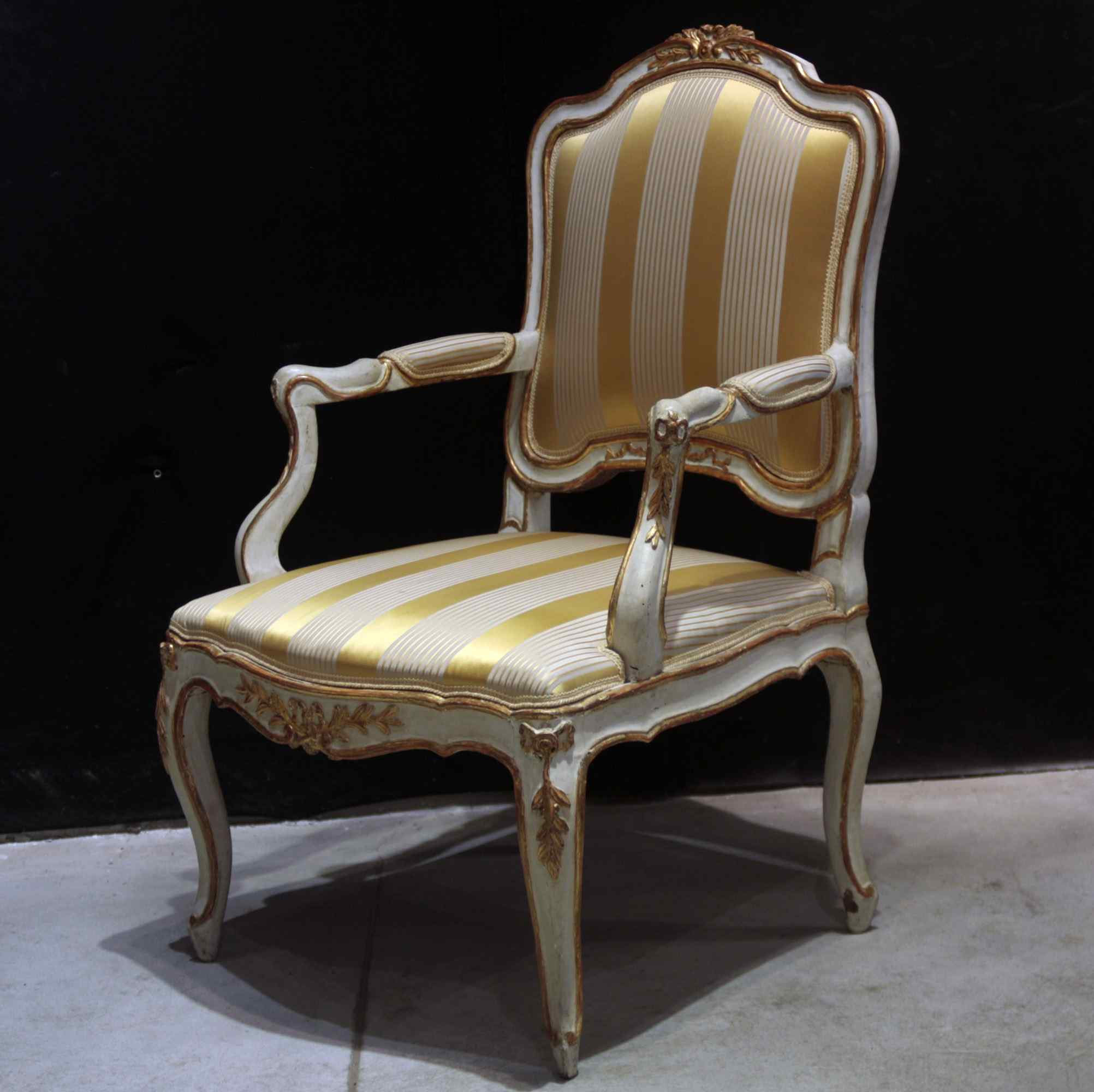 Lacquered and gilded armchair, Marche, Louis XV