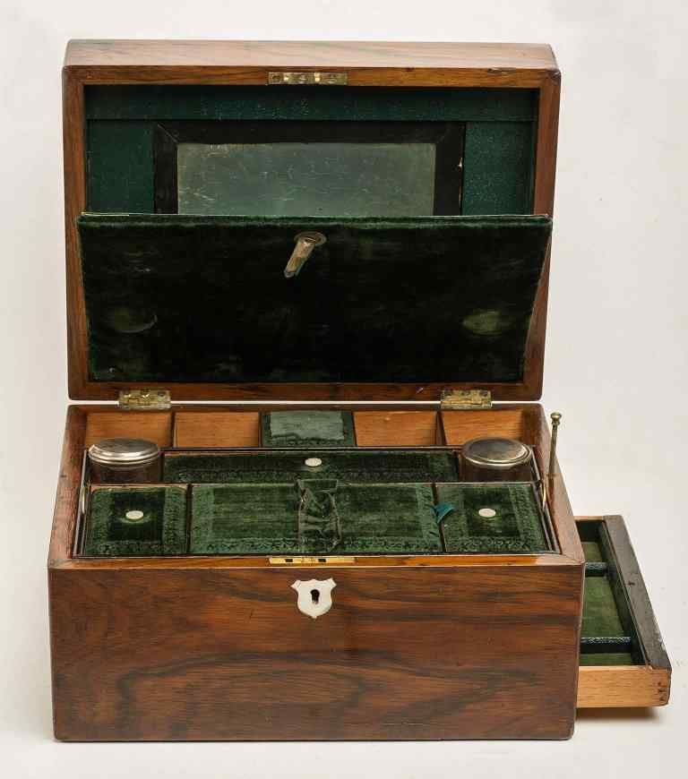 Antique English Travel Toiletry Casket