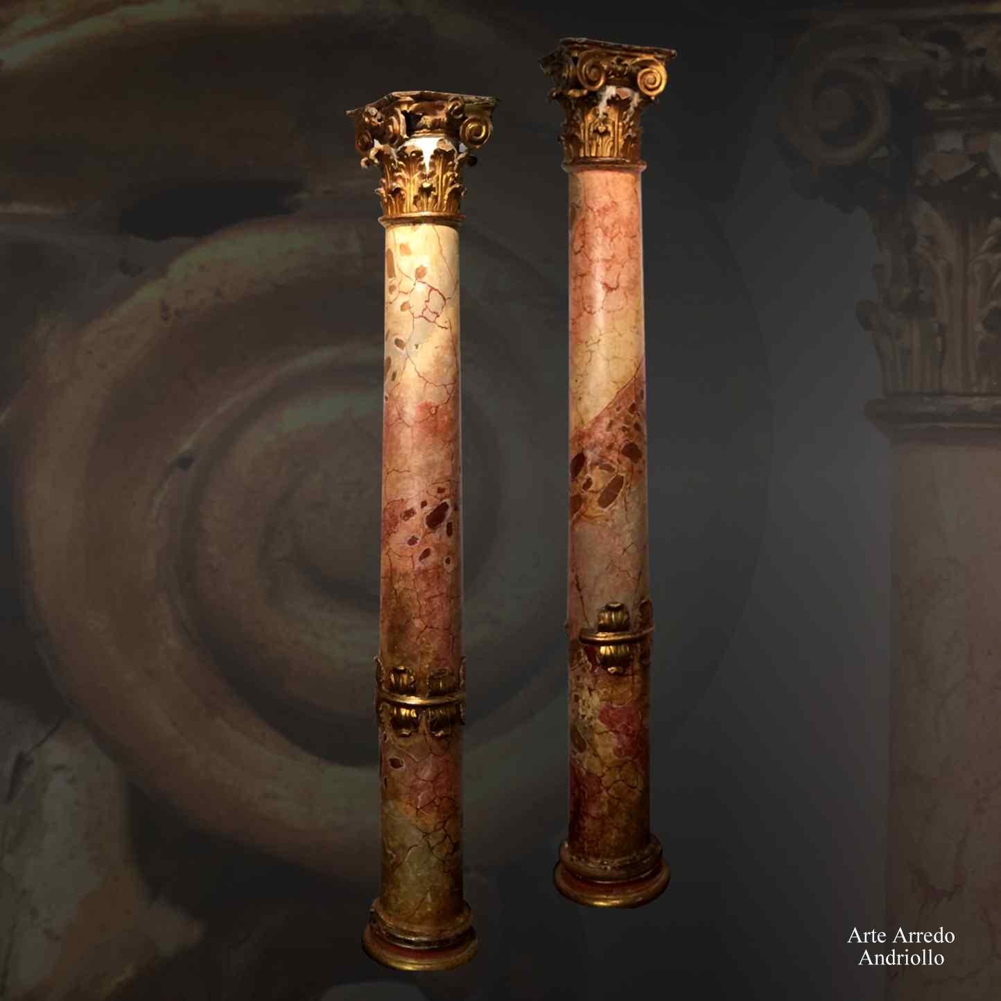 Coppia di colonne in legno dorato e policromo : AnticSwiss