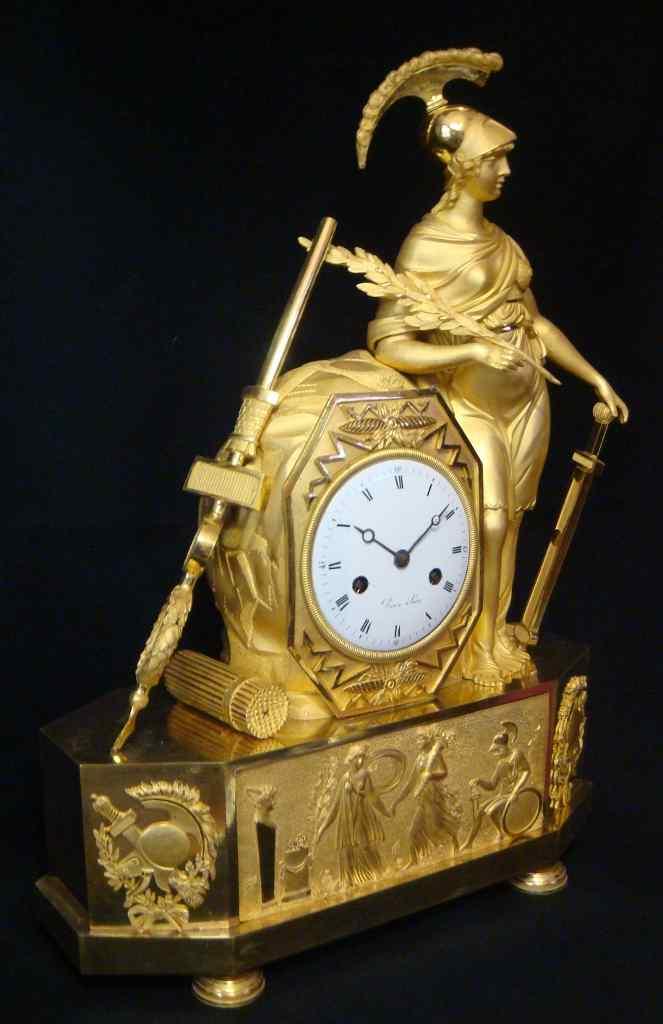Grande Pendule Empire bronze doré ''ATHENA